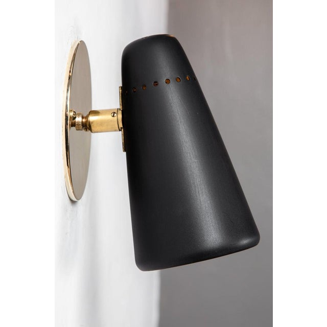 1950s Mid-Century Modern Stilnovo Sconces in Black and Brass With Yellow Label For Sale - Image 10 of 13