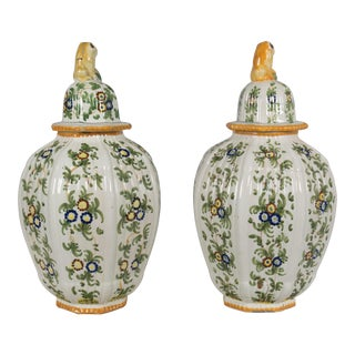 Italian Faience Ginger Jar Urns - a Pair For Sale