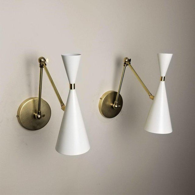 Mid-Century Modern 'Monolith' Italian-Style Reading Lamp Brass & White Enamel by Blueprint Lighting For Sale - Image 3 of 4