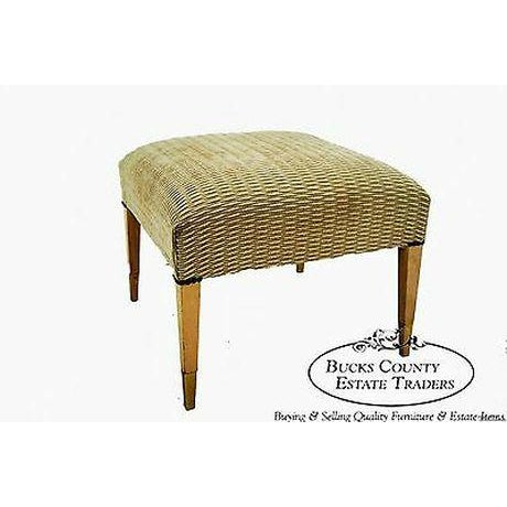Awesome Mid Century Modern Square Ottoman Bench W Brass Caps Unemploymentrelief Wooden Chair Designs For Living Room Unemploymentrelieforg