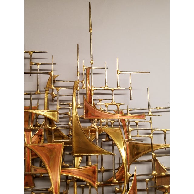 Brutalist 1970's Vintage Style of Jere Copper and Brass Brutalist Wall Sculpture For Sale - Image 3 of 5