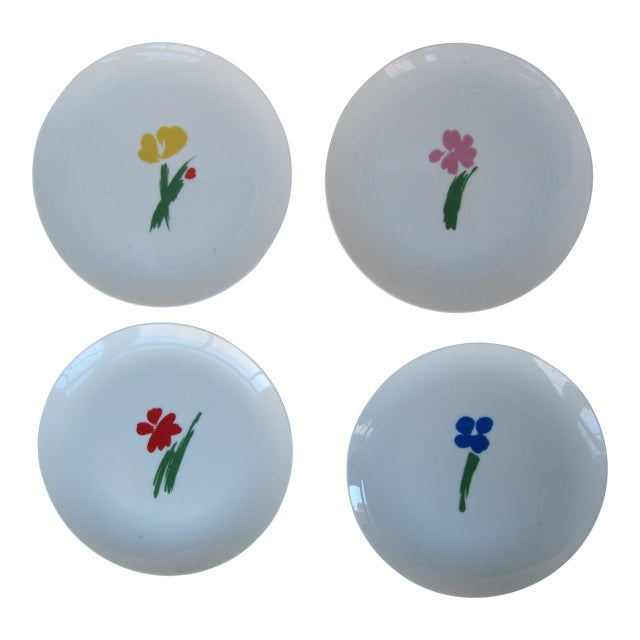 Vintage Salad Plates With Flowers- 4 Pieces For Sale