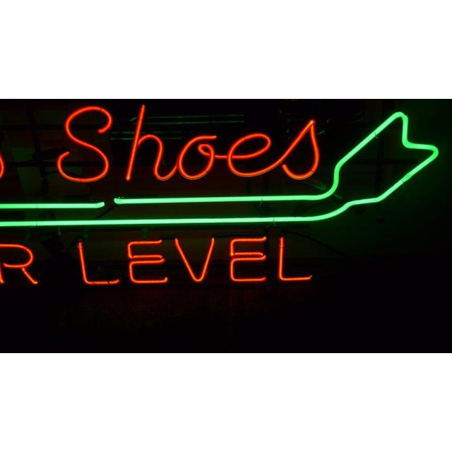 Art Deco Neon Sign From Department Store, Men's Shoes, Lower Level, Circa 1930s. For Sale - Image 3 of 13