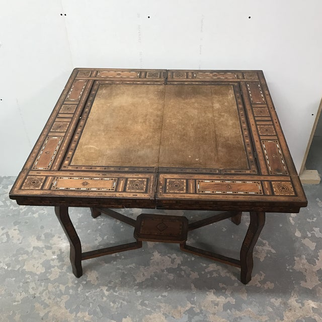 Brown Antique Syrian Inlaid Game Table For Sale - Image 8 of 11