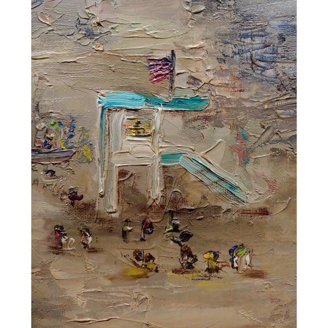 Canvas R. S. Karlin - Santa Monica Beach - 1960s Mid Century Oil Painting Mid Century For Sale - Image 7 of 11