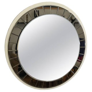 1960s Vintage Cristal Art Italian Round Mirror For Sale
