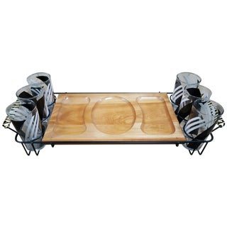 Mid-Century Serving Tray With Glasses - Set of 7 For Sale