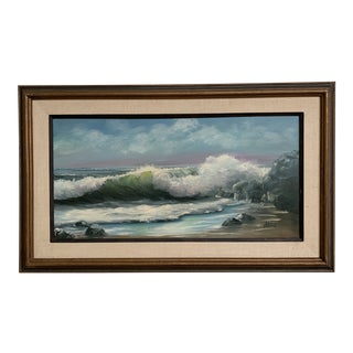 Mid Century Modern Vintage Oil on Canvas Signed Seascape For Sale