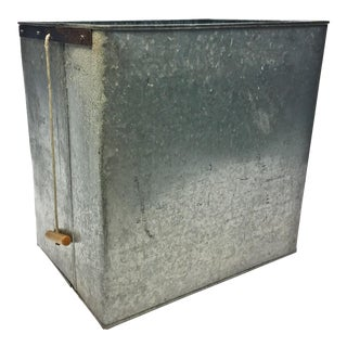 Vintage Industrial Galvanized Tote Bin with Wood Handle
