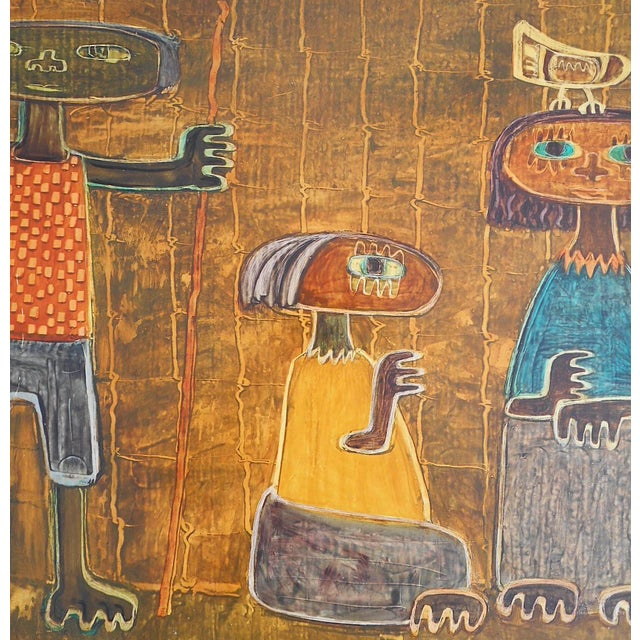 Original Vintage Post Modern Oil on Canvas-Signed-Raul Conti-Listed Latino Artist For Sale - Image 4 of 8