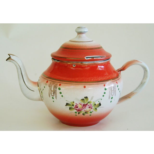 1930s French Enamelware Hand-Painted Teapot - Image 2 of 7