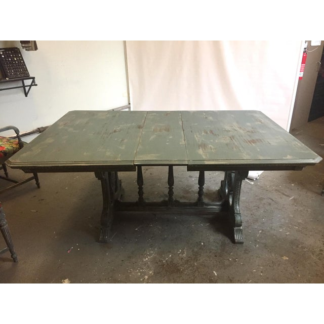 Vintage Trestle Dining Table With Six Chairs and Upholstered Settee For Sale - Image 11 of 12