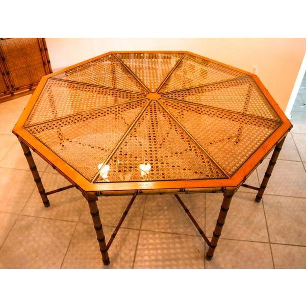 McGuire Style Octagonal Rattan Dining Set - Image 7 of 10