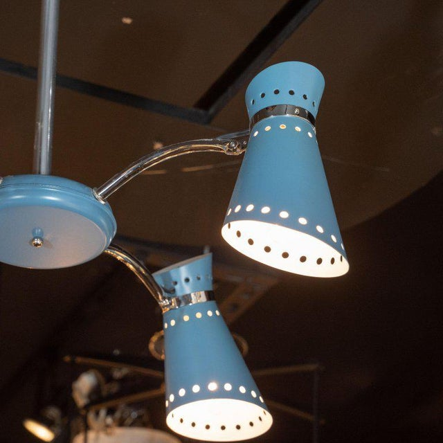 Mid-Century Modern Mid-Century Modern Four-Arm Chrome and Cerulean Blue Enamel Chandelier For Sale - Image 3 of 9