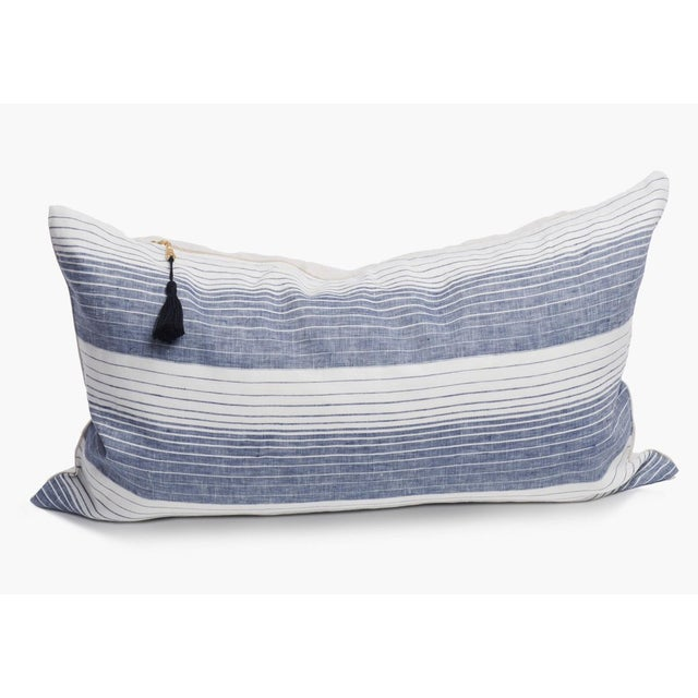 "Boho Chic Cortina Blue Stripe Pillow 14"" x 26"" For Sale - Image 3 of 3"