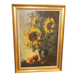 Sunflowers Painting by Johannes Bevort For Sale