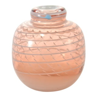 Pink Blown Art Glass Vase For Sale