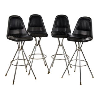 Mid-Century Comfort Lines Black Vinyl and Steel Bar Stools - Set of 4 For Sale