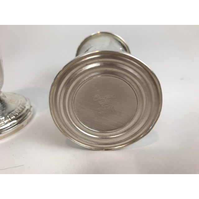 Lovely set of sterling silver salt and pepper shaker marked on the bottom by Crown Sterling Weighted.