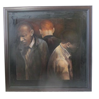 """Modern """"3 Men"""" Portrait Oil Painting Signed Berner 1994 For Sale"""