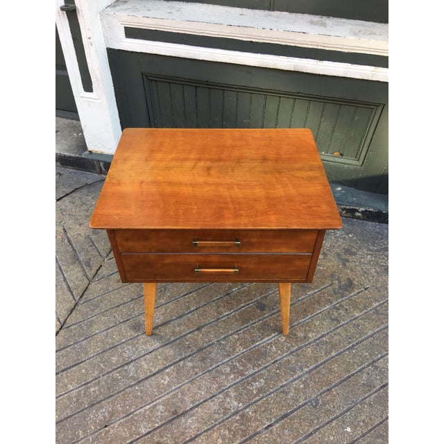 Renzo Rutili for Johnson Furniture nightstand or bed side table. Original finish presents pretty well. Blond legs with a...