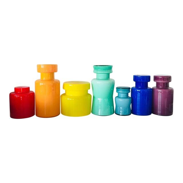 Rainbow Empoli Cased Glass Jars - Set of 7 For Sale