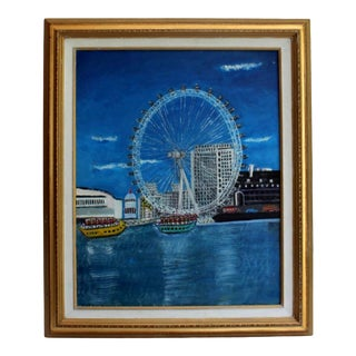 Vintage Original Folk-Art London Scene of Thames River & London Eye Ferris Wheel Oil Painting For Sale