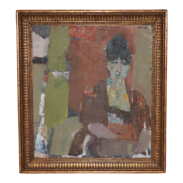 Marcello Avenali (Italy, 1912-1981) Portrait of Young Woman Oil Painting C.1950s For Sale