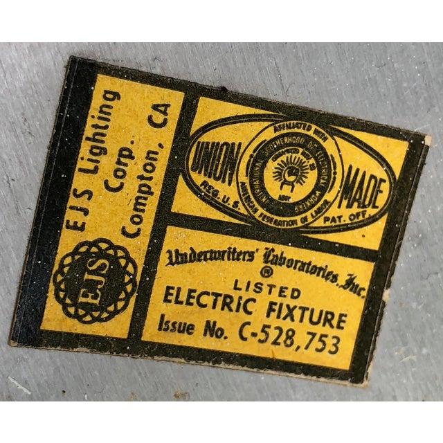 Metal Vintage 50s 60s EJS Lighting Hanging Metal Lamp Light Fixture Mid-Century Atomic For Sale - Image 7 of 11