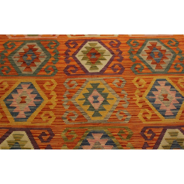 Textile Edie Rust/Ivory Hand-Woven Kilim Wool Rug -4'2 X 5'9 For Sale - Image 7 of 8