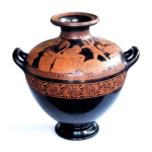 Black A Rare and Large-Scaled Italian Terracotta Glazed Stamnos Vase/Jar by Listed Ceramicist Giovanni Mollica, C. 1850 For Sale - Image 8 of 8