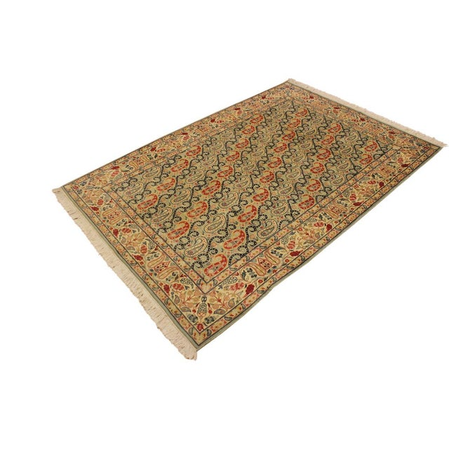 Contemporary Shabby Chic Guhm Pak-Persian Pearline Lt. Green/Tan Wool Rug - 4'8 X 7'1 For Sale - Image 3 of 8