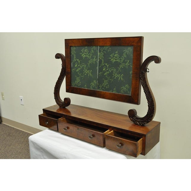 Item: 19th C. American Empire Carved Mahogany Cheval Dresser Mirror Details: 3 hand dovetailed drawers, Cheval style...