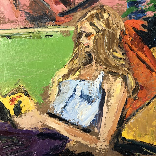 Canvas Vintage Original Abstract Female Reading in Interior Painting 1970's For Sale - Image 7 of 8
