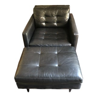 Crate & Barrel Petrie Black Leather Chair and Ottoman