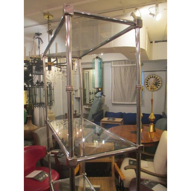 Mid 20th Century Pair of Chrome Etageres/Bookcases With Glass Shelves For Sale - Image 5 of 9