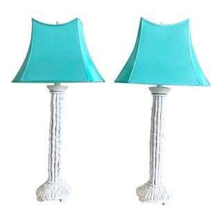 Oversize Bamboo Lamps & Shades - a Pair For Sale