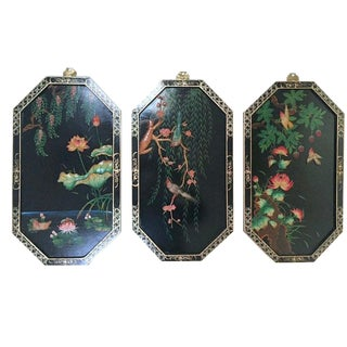 Vintage Chinoiserie Coromandel Style Wall Panels - Set of 3 For Sale