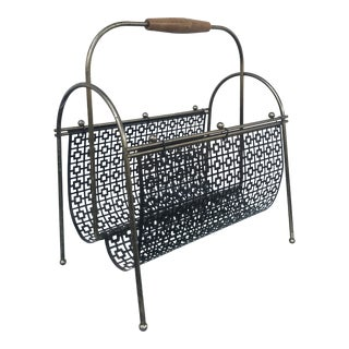 1960s Mid Century Modern Wood and Metal Magazine Rack For Sale