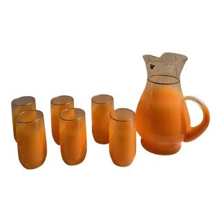 1960s Mid-Century Orange Glasses and Pitcher Bar Ware - 7 Pieces For Sale
