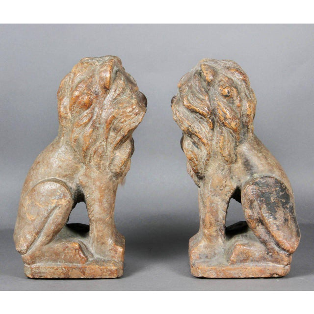 Pair of Italian Verona Marble Lions For Sale - Image 5 of 8