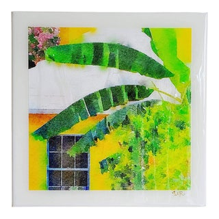 Bermuda Bungalow - Sunshine and Shade - Architectural Art - Digital Watercolor Print Sealed With Resin on Canvas by Suzanne MacCrone Rogers For Sale