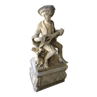 1930s Carved Stone Garden Statue For Sale