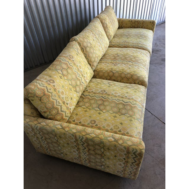Epic Milo Baughman for Thayer Coggin sofa. Done in a Jack Lenor Larsen woven jacquard in shades of yellow and soft green....