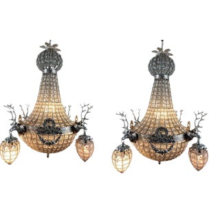 French Rococo Chandelier Decorated With Deerhead in Silver Frame - a Pair For Sale