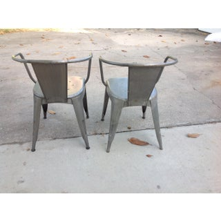 Steel Industrial Gray Metal Tub Style Chairs With Armrests - a Pair Preview