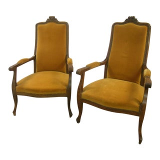 C 1870 Napoleon III Walnut Armchairs - a Pair For Sale