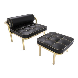 Daniele Toesca Contemporary Black and Gold 24k Armchair and Footstool For Sale