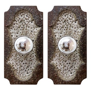 1960s Mid-Century Modern Pan Ceramic Wall Lights - a Pair For Sale