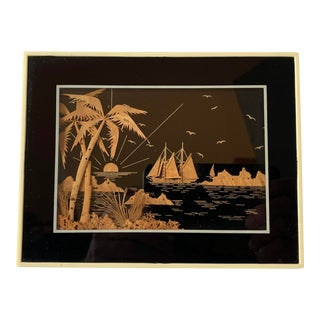 Ocean View Tropical Scene Done in Cork Within a Celluloid Faux Ivory Frame For Sale